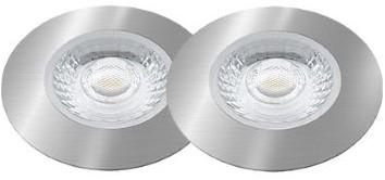 Interlight LED Inbouwspot Cabiled IP44 Basisset 2x 4W 2700K CRI>90 36D 260lm Geborsteld Chroom Ø65 Buitenmaat - Gatmaat Ø58 - Dimbaar