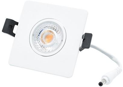 Interlight LED Inbouwspot Camini IP44 Vierkant Kantelbaar 8W 2700K 36D 640lm Wit Ø89x89 Buitenmaat - Gatmaat Ø63x63 - Dimbaar