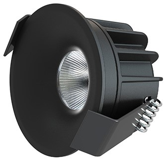 Interlight LED Inbouwspot Camicro IP44 Rond 4W 2700K CRI>95 45D 230lm Zwart Ø50 Buitenmaat - Gatmaat Ø44 - Dimbaar