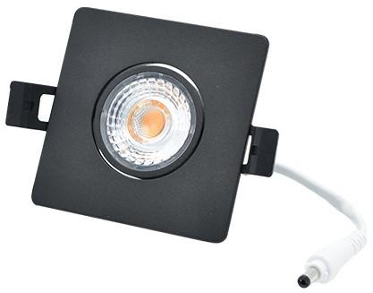 Interlight LED Inbouwspot Camini IP44 Vierkant Kantelbaar 8W 2700K 36D 640lm Zwart Ø89x89 Buitenmaat - Gatmaat Ø63x63 - Dimbaar