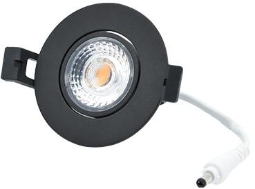 Interlight LED Inbouwspot Camini IP44 Rond Kantelbaar 8W 2700K 36D 640lm Zwart Ø82 Buitenmaat - Gatmaat Ø63 - Dimbaar
