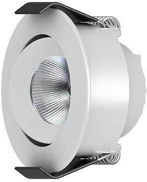 Interlight LED Inbouwspot Camicro IP44 Rond Kantelbaar 4W 3000K CRI>95 45D 235lm Wit Ø50 Buitenmaat - Gatmaat Ø44 - Dimbaar