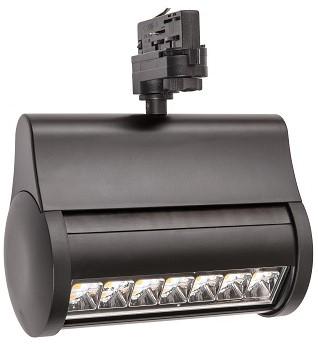 Interlight LED 3-Fase Wallwasher 43W 3000K CRI>80 90x60D 3900lm Zwart