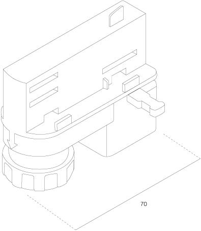 3-Fase Rail Universele Adapter 70mm Grijs