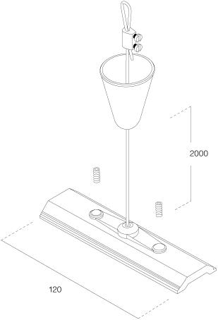 3-Fase Rail Ophangset 2M incl. 12cm Montageplaat Zwart