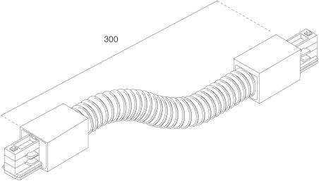 3-Fase Rail Flexibele Koppelstuk Lang Zwart