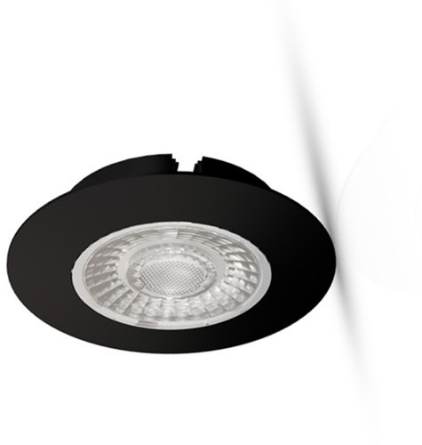 Interlight LED Inbouwspot Cabiled IP44 4W 2700K CRI>90 36D 260lm Zwart Ø65 F - G Ø58 - Dimbaar