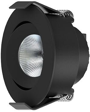Interlight LED Inbouwspot Camicro IP44 Kantelbaar Rond 4W CTA 2200-2700K CRI>95 45D 220lm Zwart Ø50 Buitenmaat - Gatmaat Ø44 - Dimbaar