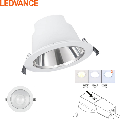 Ledvance LED Downlight Comfort DN130 IP54 13W 3000K-5700K 3CCT 1030-1210lm Wit Ø145 Buitenmaat - Gatmaat Ø130 (1x18W)