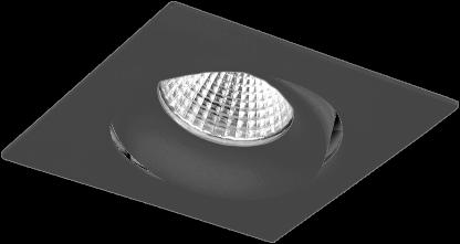 Pragmalux LED Inbouwspot Fasio IP44 Vierkant 13W 2700K CRI>90 38D 700lm Zwart Ø95x95 Buitenmaat - Gatmaat Ø83 - Dimbaar