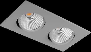 Pragmalux LED Inbouwspot Ponto Vierkant 2V 2x24W 3000K CRI>90 36° 2x3100lm Ø245x130 Buitenmaat - Gatmaat Ø232x112 Grijs