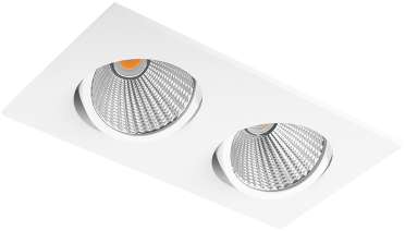 Pragmalux LED Inbouwspot Ponto Vierkant 2V 2x24W 3000K CRI>90 36° 2x3100lm Ø245x130 Buitenmaat - Gatmaat Ø232x112 Wit