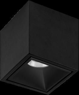 Pragmalux LED Opbouwspot Cubo 1V 15,5W 2700K CRI>90 36D 810lm Zwart/Zwart Ø91x91 Buitenmaat - Hoogte Ø100 - Dimbaar