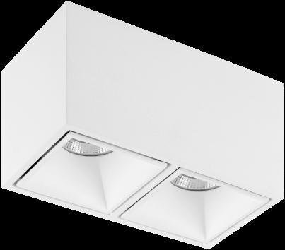 Pragmalux LED Opbouwspot Cubo 2V 2x15,5W 3000K CRI>90 36D 2x1001lm Wit/Wit Ø175x91 Buitenmaat - Hoogte Ø100 - Dimbaar