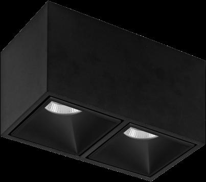 Pragmalux LED Opbouwspot Cubo 2V 2x15,5W 3000K CRI>90 36D 2x899lm Zwart/Zwart Ø175x91 Buitenmaat - Hoogte Ø100 - Dimbaar