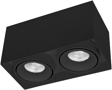 Pragmalux LED Opbouwspot Kaja 2V 2x11W 3000K CRI>93 38° 2x700lm Ø200x100 Buitenmaat - Hoogte Ø100 Zwart - Dimbaar