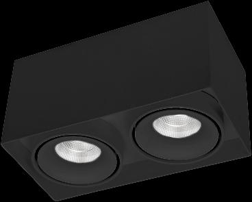 Pragmalux LED Opbouwspot Kaja 2V 2x11W 4000K CRI>93 38° 2x850lm Ø200x100 Buitenmaat - Hoogte Ø100 Zwart - Dimbaar