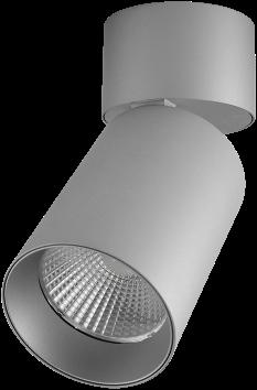 Pragmalux LED Opbouwspot Penda Draai-/Kantelbaar 20W 4000K CRI>95 40D 1400lm Grijs/Grijs Ø85 Buitenmaat - Hoogte Ø188 - Dimbaar