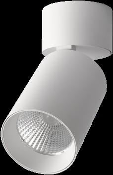 Pragmalux LED Opbouwspot Penda Draai-/Kantelbaar 20W 3000K CRI>95 40D 1350lm Wit/Wit Ø85 Buitenmaat - Hoogte Ø188 - Dimbaar