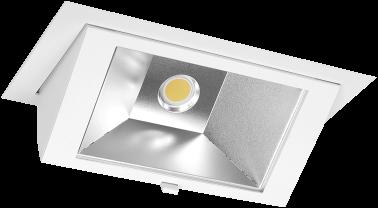 Pragmalux LED Wallwasher Projecto 42W 3000K CRI>80 70x75° 6050lm Ø238x145 Buitenmaat - Gatmaat Ø225x135 Wit