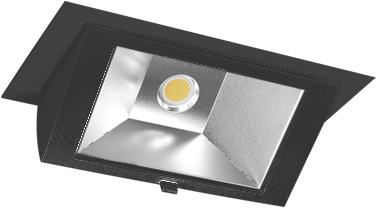 Pragmalux LED Wallwasher Projecto 42W 3000K CRI>80 70x75° 6050lm Ø238x145 Buitenmaat - Gatmaat Ø225x135 Zwart