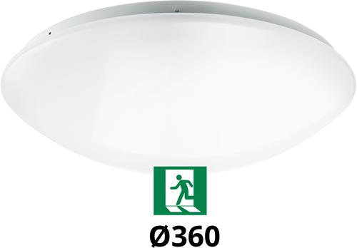 Pragmalux LED Plafonnière / Wandarmatuur Polo G2 IP44 18W 3000K-4000K-6000K 3-CCT 1550-1700lm Ø360 (1x26W) +Noodmodule 3uur manueel