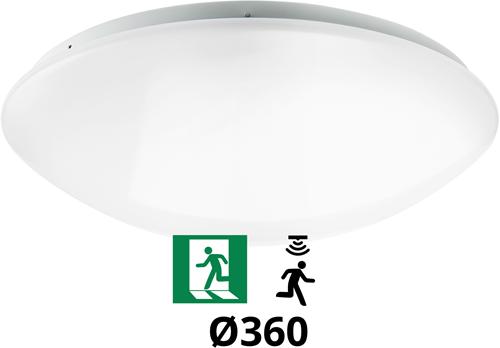 Pragmalux LED Plafonnière / Wandarmatuur Polo G2 IP44 18W 3000K-4000K-6000K 3-CCT 1550-1700lm Ø360 (1x24W) +Bewegingssensor & Noodmodule 3 uur manueel