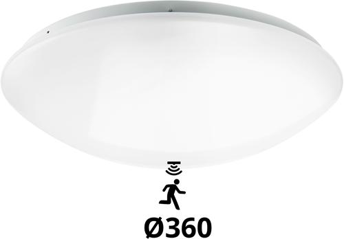 Pragmalux LED Plafonnière / Wandarmatuur Polo G2 IP44 18W 3000K-4000K-6000K 3-CCT 1550-1700lm Ø360 (1x26W) +Bewegingssensor
