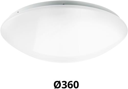 Pragmalux LED Plafonnière / Wandarmatuur Polo G2 IP44 18W 3000K-4000K-6000K 3-CCT 1550-1700lm Ø360 (1x26W)