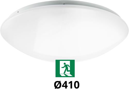 Pragmalux LED Plafonnière / Wandarmatuur Polo G2 IP44 22W 3000K-4000K-6000K 3-CCT 1950-2150lm Ø410 (1x32W) +Noodmodule 3uur manueel
