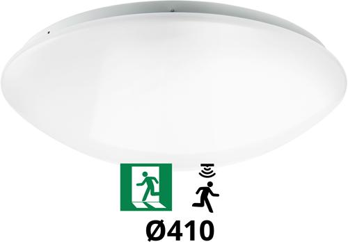 Pragmalux LED Plafonnière / Wandarmatuur Polo G2 IP44 22W 3000K-4000K-6000K 3-CCT 1950-2150lm Ø410 (2x18W) +Bewegingssensor & Noodmodule 3 uur manueel