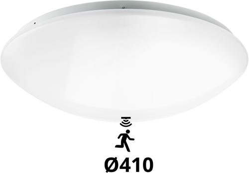 Pragmalux LED Plafonnière / Wandarmatuur Polo G2 IP44 22W 3000K-4000K-6000K 3-CCT 1950-2150lm Ø410 (1x32W) +Bewegingssensor