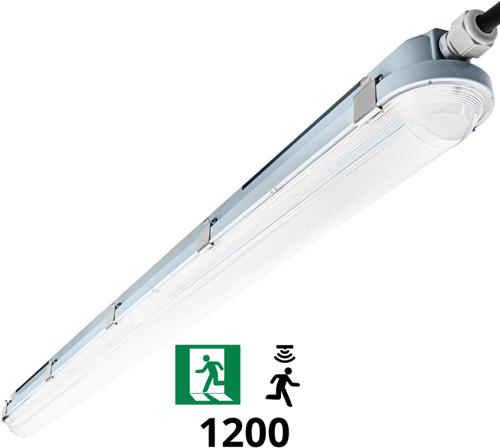 Pragmalux LED TL Waterdicht Armatuur Hermes IP66 120cm 35W 4000K 5100lm (2x36W) Bewegingssensor + Noodverlichting