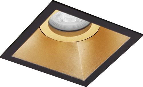 Pragmalux Inbouwspot Zena Vierkant Kantelbaar Zwart/Goud - Incl. GU10 Fitting