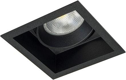 Berla LED Inbouwspot vierkant BR0005W Verdiept Kantelbaar GU10 zwart - excl. Lamp