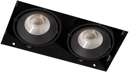 Berla LED Inbouwspot Cardanisch Trimless BR0022 Kantelbaar 2x7W 2700K CRI>90 36D 1200lm Zwart Ø90,5x183 Buitenmaat - Gatmaat Ø95x187 - Dimbaar