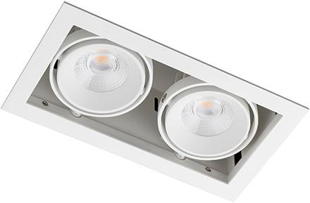 Berla LED Inbouwspot Cardanisch BR0032W Kantelbaar 2x7W 36D 2700K wit - dimbaar