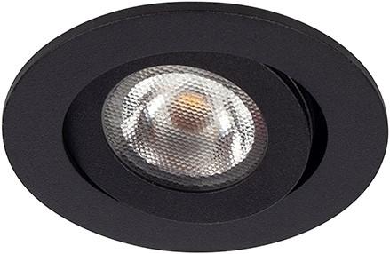 Berla LED Inbouwspot IP44 Rond BR0042Z Kantelbaar 2.2W 260lm 2700K zwart 40D - excl. Driver
