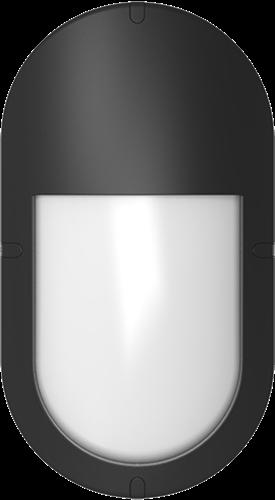 Pragmalux LED Bulkhead Ovalo IP65 Halve Afscherming Zwart