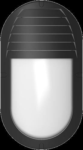 Pragmalux LED Bulkhead Ovalo IP65 Grill Afscherming Zwart