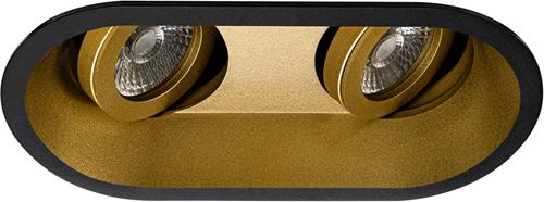 Pragmalux Inbouwspot Zena Rond 2V Kantelbaar Zwart/Goud - Incl. GU10 Fitting