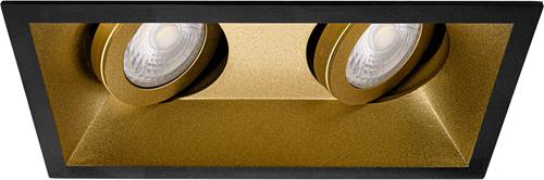 Pragmalux Inbouwspot Zena Vierkant 2V Kantelbaar Zwart/Goud - Incl. GU10 Fitting