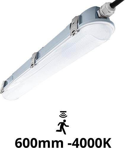 Pragmalux LED TL Waterdicht Armatuur Zeus IP66 60cm 19-11W 2500-1450lm dipswitch 4000K 5x2,5mm Doorvoerbedrading (1/2x18W) +Sensor